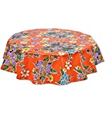 Round Freckled Sage Oilcloth Tablecloth in Hawaii Orange - You Pick the Size!