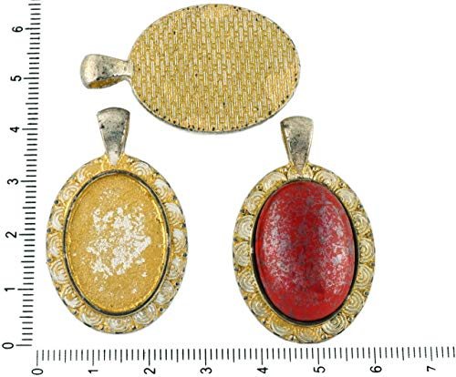 2pcs Czech Matte Gold Patina Antique Silver Tone Large Oval Pendant Spiral Cabochon Setting Blank Tray Metal Base Fit Cameo 18mm x 25mm ()