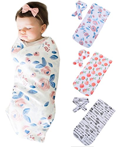 Newborn Baby Floral Print Swaddle Blanket Receiving Blankets with Headband size 0-3 Months (Pink)