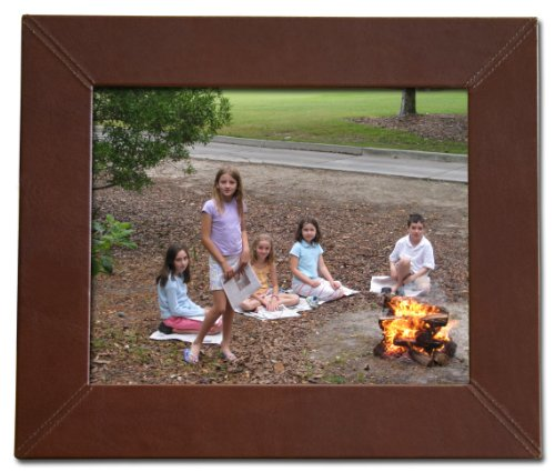 Leather Photo Grain - Dacasso Mocha Leather Photo Frame, 8 by 10-Inch
