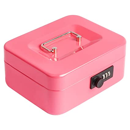 b6e8b1c05e8c Decaller Cash Box with Combination Lock, Safe Metal Small Locking Box with  Money Tray, 7 4/5