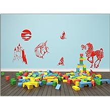 N1040 fées, enfants Décoration salle autocollants - mur graphiques bricolage décoration, papier peint de décoration murale, autocollants en vinyle, badine le décor de la pièce