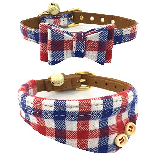 The Creativehome Dog Cat Collars Leather for Small Pet Adjustable Bow-tie and Scarf Puppy Collars with Bell Cute Plaid Bandana Dog Collar(2 Pack) (Blue+red Plaid)