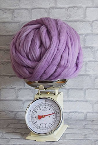 100% Non-Mulesed Chunky Wool Yarn Big chunky Yarn Massive Yarn Extreme Arm Knitting Giant Chunky Knit Blankets Throws Grey White (0.5kg, Purple) (Big One Throw Blanket The)