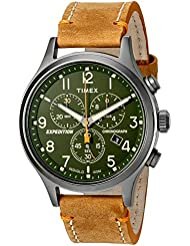 Timex Mens TW4B04400 Expedition Scout Chrono Tan/Green Leather Strap Watch