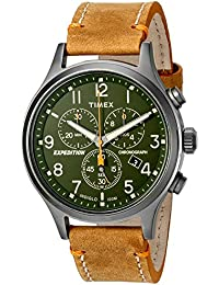 Men's TW4B04400 Expedition Scout Chrono Tan/Green Leather Strap Watch