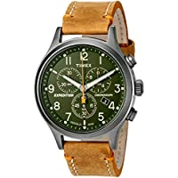 Timex Men's TW4B04400 Expedition Scout Chrono Tan/Green Leather Strap Watch