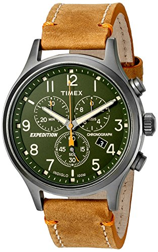 Green Leather Strap - Timex Men's TW4B04400 Expedition Scout Chrono Tan/Green Leather Strap Watch