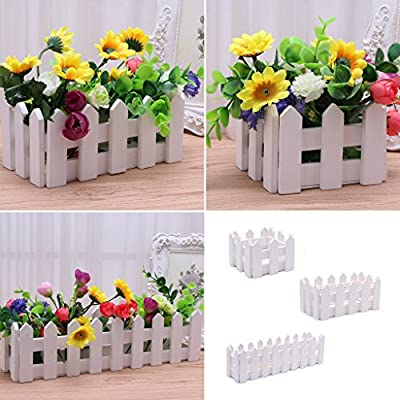 YDZN Wooden Fence Artificial Flower Plant Fence Picket Storage Holder Vase Garden Weeding Home Office Decoration