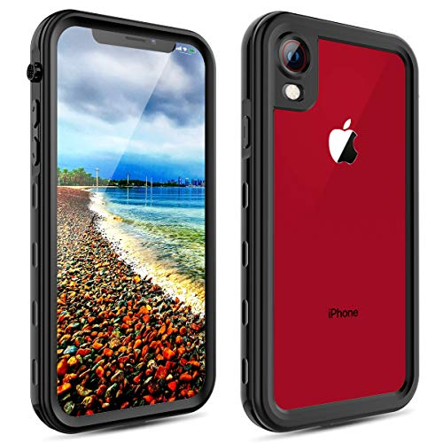 Waterproof Case for iPhone XR,Transy Wireless Charging Support iPhone XR Snowproof Waterproof Shockproof Full-Body Rugged Cover Case with Built-in Screen Protector for iPhone XR (Black/Clear)