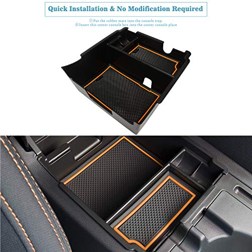 (Marchfa Center Console Box Armrest Secondary Organizer Tray Accessories for Subaru Crosstrek and Impreza 2018-2019 (Orange))