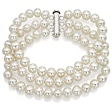 Sterling Silver 3-rows 6-6.5mm White Freshwater Cultured Pearl Bracelet with Tube Clasp, 7.5''