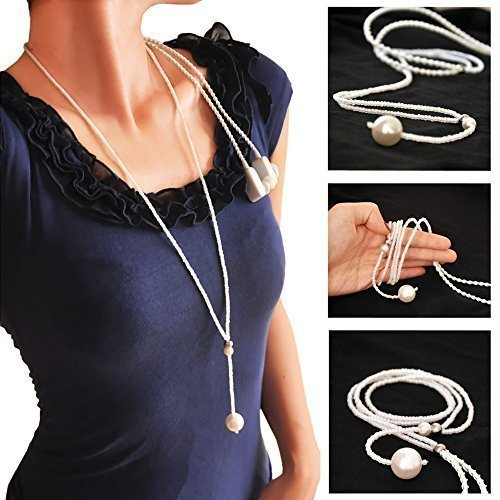Price comparison product image Bluetooth Headphones V4. Stereo Necklace Wireless Headphones Car Hand Free Earbuds Headsets Earpiece Built-in Mic Earphones for Apple iPhone 6 6s plus Galaxy S6 S5 and Android Phones White Pearls