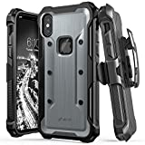 Vena iPhone X Case, [vArmor] Rugged Military Grade Shock Absorption Heavy Duty Case with Belt Clip Swivel Holster & Kickstand Hard Shell for Apple iPhone X / 10 - Black/Space Gray