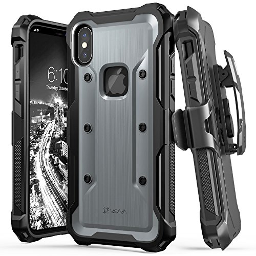 iPhone X Case, Vena [vArmor] Rugged Military Grade Shock Absorption Heavy Duty Case with Belt Clip Swivel Holster & Kickstand Hard Shell for Apple iPhone X / 10 – Black / Space Gray