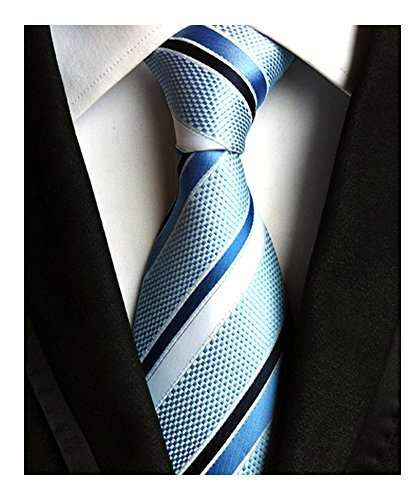 Men's Classic Light Blue Stripe Tie Jacquard Woven Silk Tie Necktie + Gift Box by Eneston