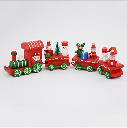 UChic 2PCS Christmas Decoration For Home Little Train Papular Wooden Train Decor Christmas DIY Home Decoration Accessories Ornaments Supplies 2Color