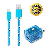 Go Beyond(TM) 10 Feet 8 Pin to USB Data Sync / Charging Cable for iPhone 5 iPad Mini iPod Touch 5th Generation + LED Light Visible Transparent Dual USB Port 3.1AMP AC Travel Home Wall Charger Power Adapter. (Blue Nylon cable, LED Transparent Home charger (Blue) . SHIPPED IN SAME BUSINESS DAY. Compatible with NEW iOS)