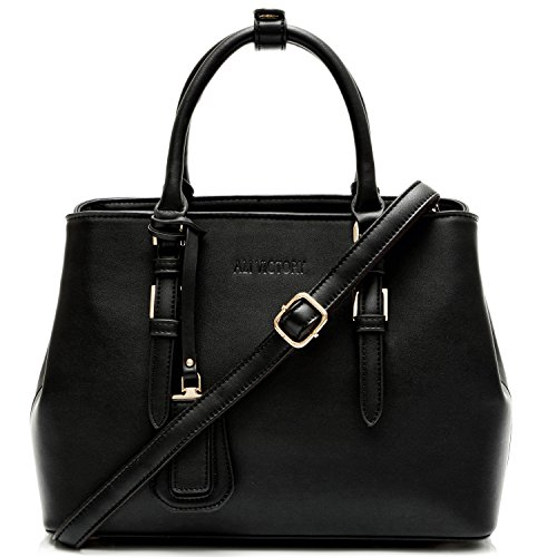 Ali Victory Classy Top Handle Satchel Handbags for Women (Black) by Ali Victory