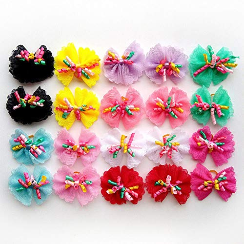 yagopet 20pcs/10pairs Dog Hair Bows with Rubber Bands Colored Curve Decoration Mixed Colors Dog Topknot Bows Pet Dog Grooming Bows Pet Supplies Dog Bows Dog Hair Accessories