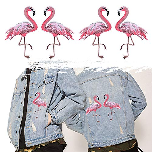 Beginner Embroidery - 2pcs Set FashionOn Patch Red Flamingo Apparel Applique Embroidery Clothing Badge Sticker - Iron Cute Blouse Embroidered Flamingo Sequin Embroided Rose Woman Merm
