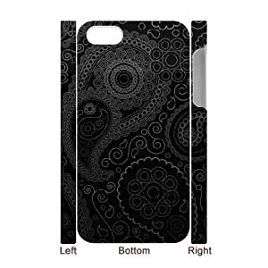 3D IPhone 4/4s Cases Dark Curly Pattern, Kweet, [White]