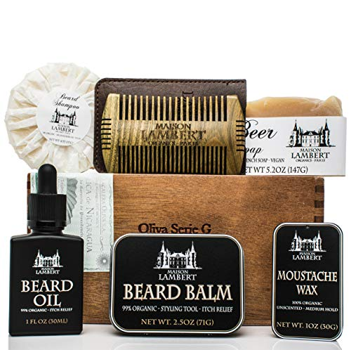 - Maison Lambert Ultimate Beard Kit Contains: Organic Beard Balm, Organic Beard Oil, Organic Beard Shampoo, Wood Beard Comb and a Free Organic Body Soap. Perfect fathers day gifts! (Pack in a cigar box)