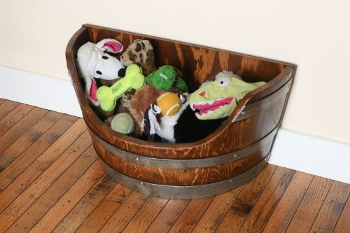 Pet Toy Box, Toy Bin Made From Solid Oak Wine Barrel By Wine Barrel Creations by Wine Barrel Creations