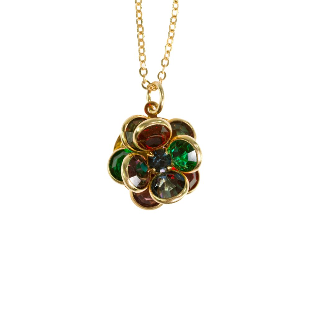 Vintage Flower Pendant Jewel Color Crystals 18k Yellow Gold Electroplated