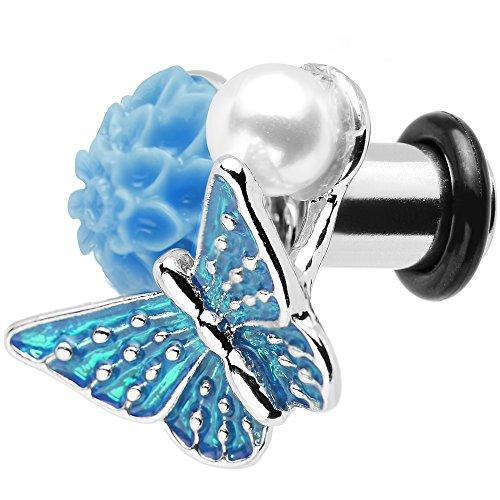 Body Candy 2 Gauge Blue Acrylic Flower Brilliant Blue Butterfly Single Flare Steel Ear Gauge Plug (1 Piece)