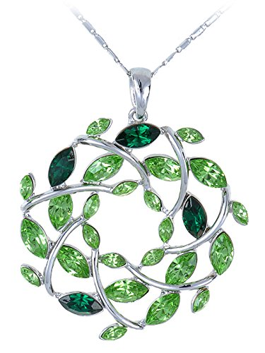 (Alilang Womens Silvery Tone Emerald Colored Gemstones Christmas Leaf Wreath Pendant Necklace )