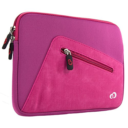Slim Neoprene Protective Laptop & Tablet Sleeve, Water Resistant Cover Case for Apple iPad Air, Samsung Galaxy Tab, Insignia Tablets (9 inch, Pink)