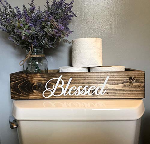 (Blessed Decor Dark Walnut Toilet Topper Bathroom Storage Box Bin Toilet Paper Holder)