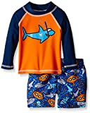 Flap Happy Baby UPF 50+ Graphic Rash Guard And Infant Swim Diaper Trunk Set, Snorkel Shark/Sea Safari, 12 Months