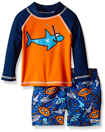 Flap Happy Baby UPF 50+ Graphic Rash Guard and Infant Swim Diaper Trunk Set, Snorkel Shark/Sea Safari, 6 Months by Flap Happy