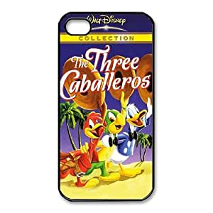 Special Design Case iPhone 4,4S Black Cell Phone Case Vtwqb The Three Caballeros Durable Rubber Cover