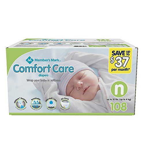 Member's Mark Comfort Care Baby Diapers, Newborn Up to 10 Pounds (108 Count)