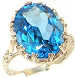 925 Sterling Silver Natural Blue Topaz Womens Solitaire Ring - Sizes 4 to 12 Available