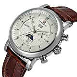 Gosasa Men's Automatic Movement Brown Leather Strap Watch With White Dial, Calendar, Week, Sun Moon Phase