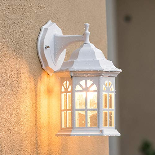 Vampsky Classic White Rustic Waterproof Traditional Outdoor Wall Light Lantern Simple Terrace Fence Villa Wall Sconce Lamp Lighting Fixture for Indoor Outside Decoration with E27 (Color : ()