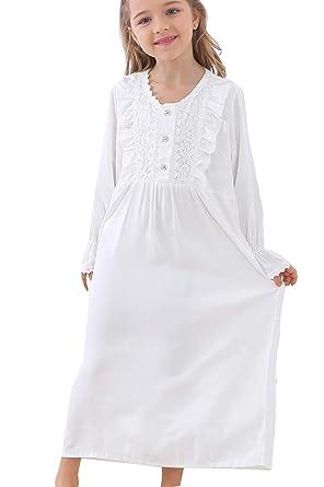 4550a13f8e PUFSUNJJ Kids Girls Princess Lace Nightgowns Long Sleeve Sleep Dress  Toddler 3-10 Years
