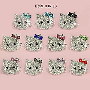 HYBEADS 6Pcs Random DIY Kitty Cat Connector bead for Shamballa Jewelry Making Crystal Cat Beads Charms