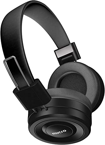 Bluetooth Headphones Over Ear with MIC, MUCRO Comfort Hi-Fi Stereo Wired and Wireless Headset Support Micro-SD TF Card, Telescopic Arms, 10H Playtime for Travel Work TV PC Cellphone – Black