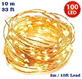 Fairy Lights 100 LED Micro Indoor Christmas Tree LED Fairy Lights String Lights / 10 Meters / 33 Ft Copper Cable - Mains/ Power Operated LED Fairy Lights - Ideal for Christmas Tree, Festive, Wedding/Birthday Party Decorations - INDOOR Use Only