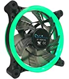 APEVIA 12L-CGN 120mm Silent Dual Rings Green LED Fan with 32 x LEDs & 8 x Anti-Vibration Rubber Pads