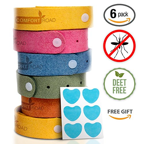 Comfort Road Mosquito/Insect/Bug Repellent Bracelets, Individually-Wrapped Wrist Bands (6 pack), Plus 18 BONUS Patches - Natural Ingredients, Deet-Free, Kid/Pet-Safe