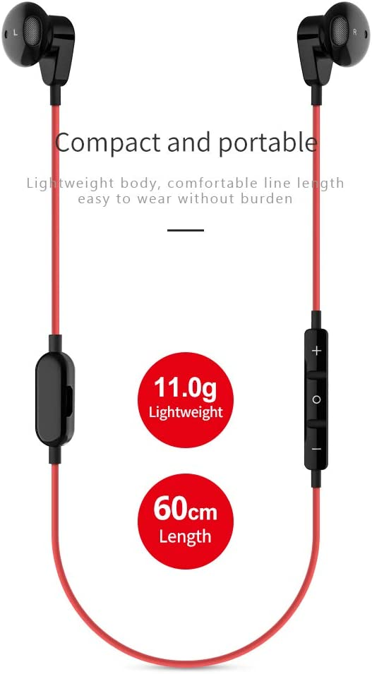 Sunny day-Euro Auriculares Deportivos con Bluetooth 5.0, Ajuste de Volumen, cancelación de Ruido, Ligero, a Prueba de Sudor, con micrófono para Correr, Entrenar, Gimnasio, Color Negro