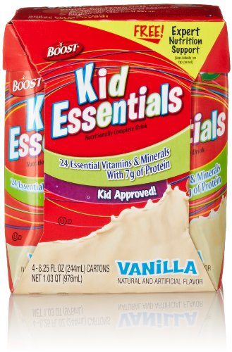 Boost Kid Essentials Nutritionally Complete Drink, Vanilla (4 Count, 8.25 Fluid Ounce Each)