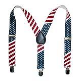CTM Kids' Elastic Stars and Stripes American Flag Print Suspenders, Stars and Stripes