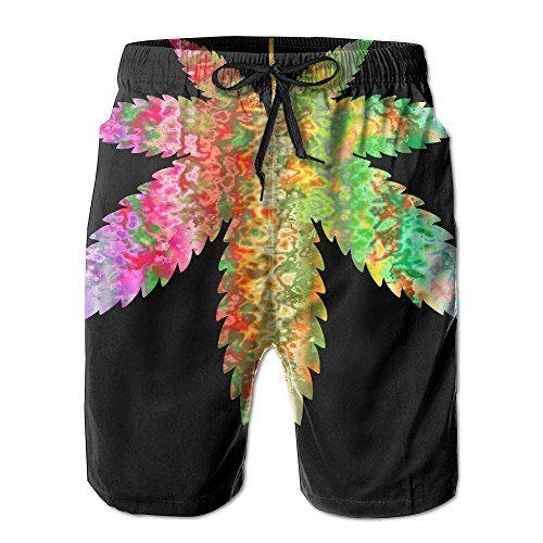 2018 pants Men's Psychedelic Marijuana Leaf Quick Dry Summer Beach Surfing Board Shorts Swim Trunks Cargo Shorts by 2018 pants